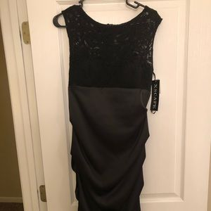 Black Satin and Lace Dress